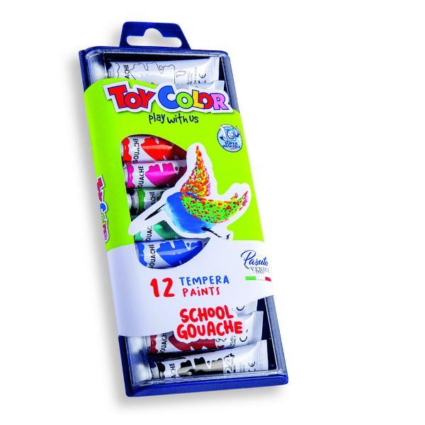 Tempera la tub Toy Color 75 ml 12 culoriTempera groas&259; &537;i mat&259; Cele 12 nuan&539;e pot fi amestecate pentru o palet&259; de culori extins&259;Se îndep&259;rteaz&259; cu u&537;urin&539;&259; de pe piele &537;i de pe cele mai multe tipuri de &539;es&259;turi doar cu ap&259; receNu con&355;in gluten &351;i nu provoac&259; alergii in contact cu pielea sau la înghi&355;irea accidental&259;Nu con&355;in