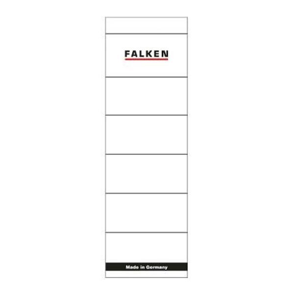 Etichete pentru bibliorafturi autoadezive Falken 58 x 190 mm 10 bucatisetEtichete autoadezive pentru biblioraftul marmorat FalkenCuloare albUnitate de vanzare 10 bucatiset