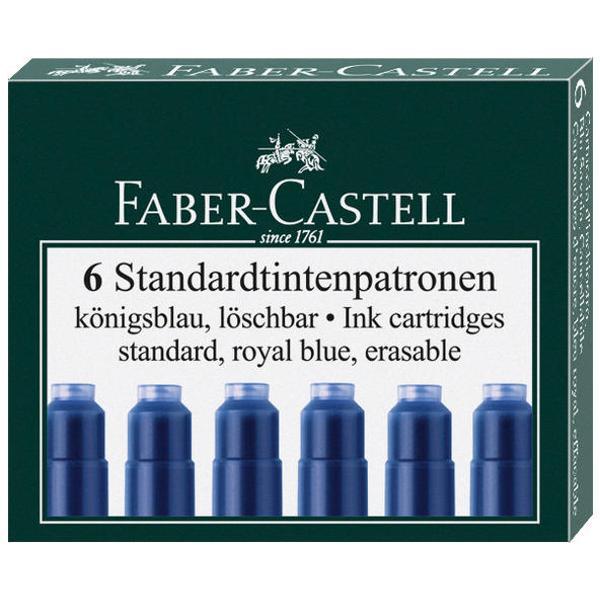 Patroane  rezerve de cerneala Faber-Castell scurte utilizabile pentru stilouri; ambalare 6 bucset
