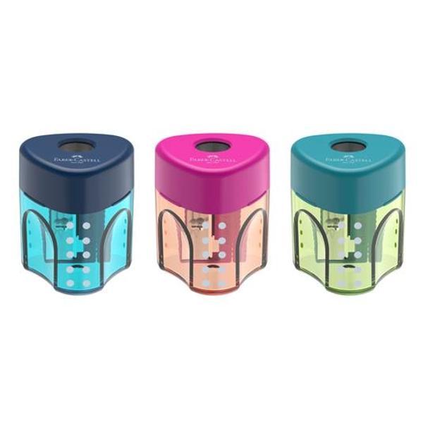 Ascutitoare simpla cu container GripDin plastic in culori pastel atractive pentru copii si tineri pentru creioane grafit si colorate standardPretul afisat este per bucata