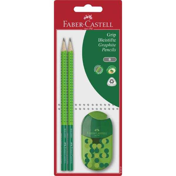 Creion grafit Faber-Castell Grip Two Tone 2 bucblister cu ascutitoareCaracteristicicreion grafic cu forma ergonomica triunghiulara pentru scriere usoara;zona Grip moale in culori atractive bicolor rosu-portocaliu;lipire speciala SV pentru prevenirea ruperii minei;corpul acoperit cu vopsea ecologica pe baza de apa;mina B;set 2 buc creioane grafit 1 ascutitoare cu container si