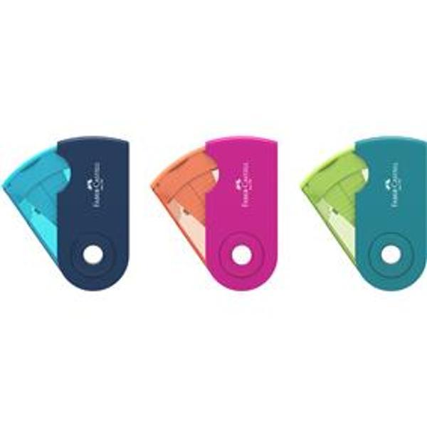 Ascutitoare din plastic Sleeve dubla cu container in culori pastelForma ergonomica pentru utilizare usoaraPentru creioane grafit si colorate standard sau jumbo