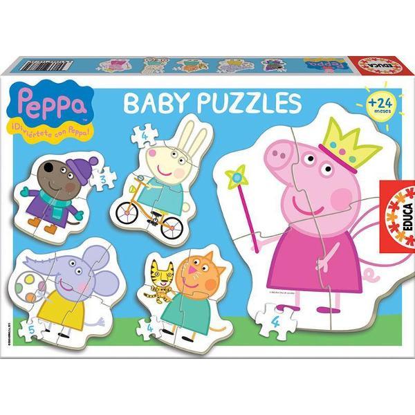 Puzzle Baby Peppa Pig 1 include 5 puzzle-uri a cate 3 4 si 5 piese Pentru cei cu varste intre 2 si 4 ani