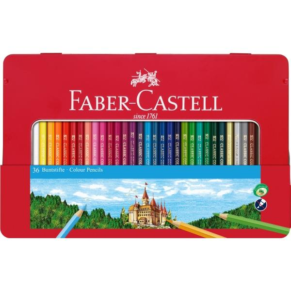 Contine 36 creioane colorateCulori intenseFereastra transparenta pentru vizualizarea continutuluiForma hexagonala clasica culori luminoaseVopsea pe baza de apa pentru protejarea mediului