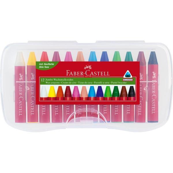 Creioane cerate diametru JumboForma ergonomica triunghiulara corpul protejat cu hartieIn cutie practica din plastic reutilizabila
