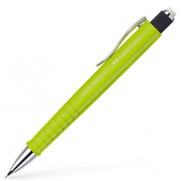 Creion mecanic Faber Castell un creion de foarte buna calitate in diferite culori atractive Corpul creionului este realizat din material plastic prevazut cu o zona grip anti-alunecare Creionul este prevazut cu un varf retractabil o radiera lunga retractabila si un clip rezistent Creionul functioneaza cu mine de grosime 07 mm