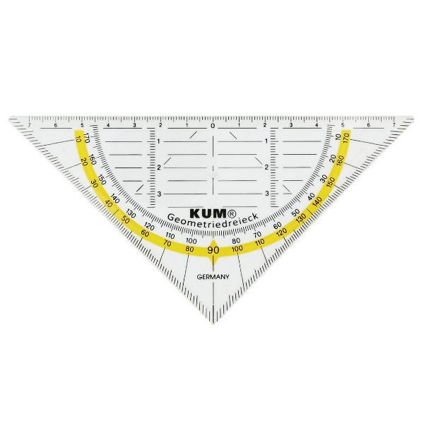 Echer KUM transparent 262 16cm cu raportor inclus colorat