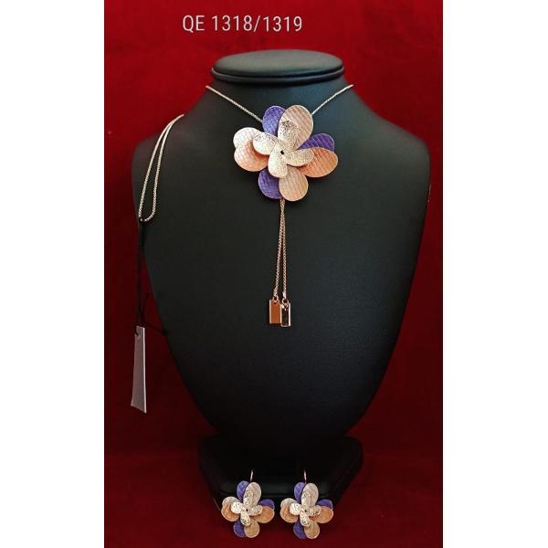 Set de colier si cercei zamac aurit aur roz 85cm qe1318 1319