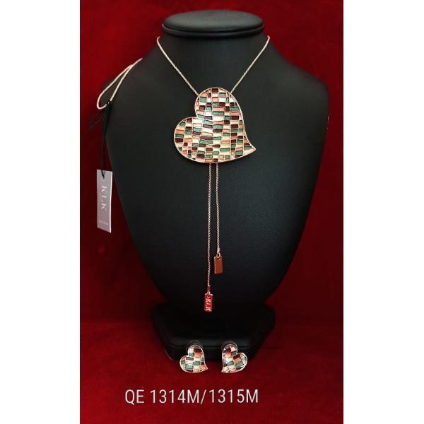 Set de colier si cercei zamac aurit aur roz 85cm qe1314m 1315m