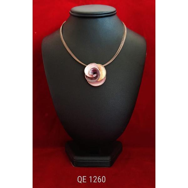 Colier zamac aurit aur roz 42 7cm qe1260