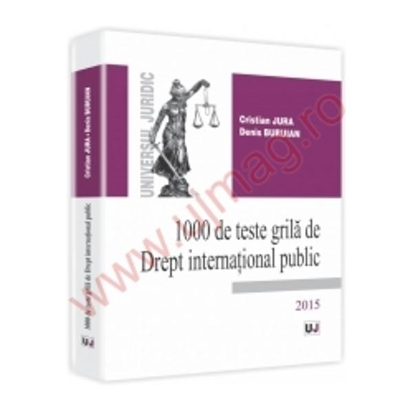 Cursurile universitare studiile de masterat cele doctorale sau postdoctorale sunt alcatuite fara exceptie dintr-un binom ce presupune procesul de predare pe de o parte si verificarea cunostintelor dobandite de studenti pe de alta parteVolumul &8222;1000 de teste grila de Drept international public&8221; reprezinta acea jumatate a binomului cu ajutorul careia cunostintele dobandite pe parcursul anului universitar la materia &8222;Drept international public&8221; pot fi