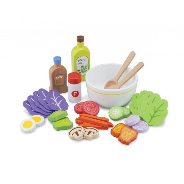 Invata sa faci o salata intr-un mod distractiv folosind acest set minunat confectionat din lemnCei mici se vor bucura de explorarea diferitelor forme si culori si vor pregati salate delicioase din alimentele preferateSetul contine 18 piese un bol doua ustensile pentru amestecat salata o sticla de ulei de masline o sticla de sos pentru salata un recipient pentru sare sau piper diverse alimente precum rosii castraveti ceapa ciuperci oua