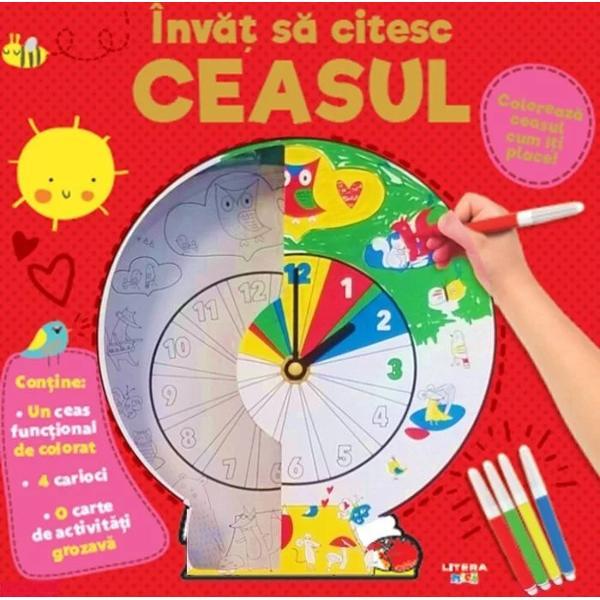 Nici nu vei &537;ti când zboar&259; orele atunci când te joci cu acest minunat set de activit&259;&539;i În&259;untrul cutiei vei descoperi un cadran de ceas pe care-l po&539;i colora cum î&539;i place &537;i c&259;ruia îi po&539;i ata&537;a mecanismul func&539;ional al&259;turat 4 carioci &537;i o mul&539;ime de activit&259;&539;i care te vor ajuta s&259; înve&539;i s&259; cite&537;ti singur oraCartea de