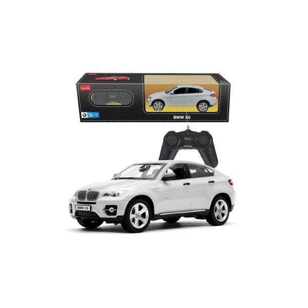 Masina cu telecomanda BMW X6 scara 1 la 24replica oficiala cu licenta a modelului original construita cu mare atentie la detalii de producatorul international Rastar producator specializat in jucariile de tip vehiculViteza deplasare - aprox 10kmhTractiune 2WDAnvelope de cauciucSe poate deplasa in toate directiile inainte inapoi stanga sau dreaptaPosibilitate de reglaj a directiei direct pe