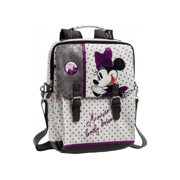 Rucsac laptop Minnie Bows - material piele ecologica bretele ajustabile compartiment special pentru laptop 2 compartimente culoare alb cu imprimeu personaj Minnie Mouse dimensiune 29x38x95 cm maner fix 1 buzunar lateralRucsac laptop  Ghiozdan cu licenta Disney Minnie colectia Minnie Bows este recomandat pentru copii si fete