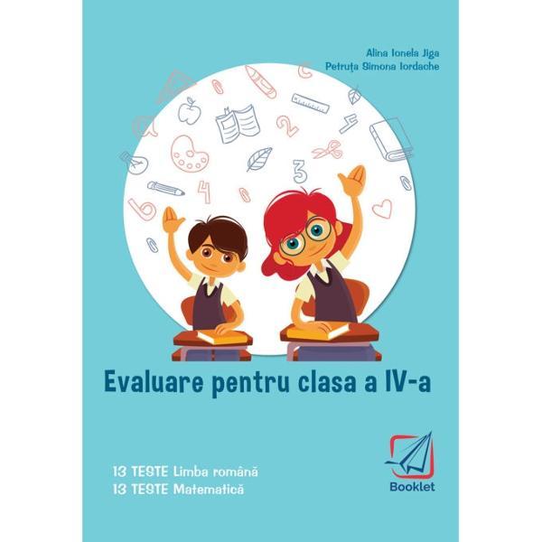 Evaluare pentru clasa a IV-a TESTE este un instrument de lucru foarte util elevilor de clasa a IV-a care se preg&259;tesc pentru sus&539;inerea examenului de Evaluare Na&539;ional&259;Con&355;ine 13 teste de comunicare în limba român&259; &537;i 13 teste de matematic&259;Testele de comunicare în limba român&259; evalueaz&259; competen&539;ele de receptare a mesajului scris pe baza unor texte-suport literare &537;i nonliterare precum