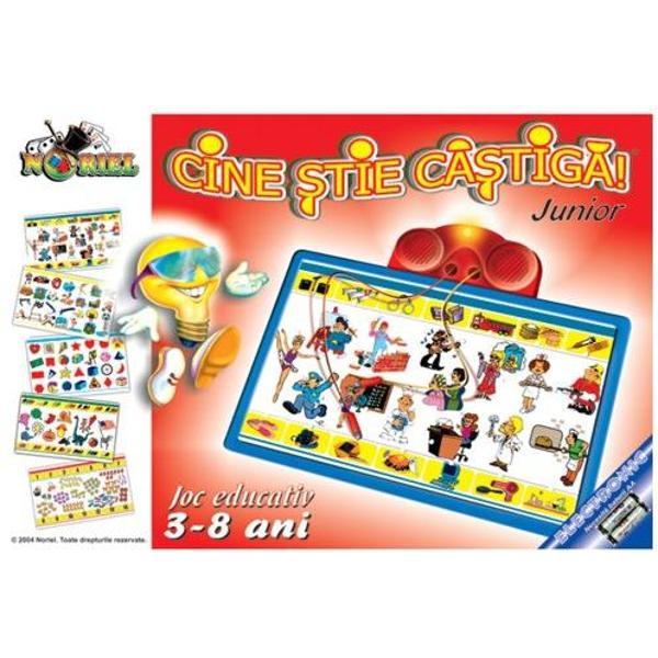 Cine stie castiga JUNIOR este un joc educativ care are ca scop verificarea si imbogatirea cunostiintelor generale ale copiilor Produs recomandat copiilor cu varsta peste 3 ani