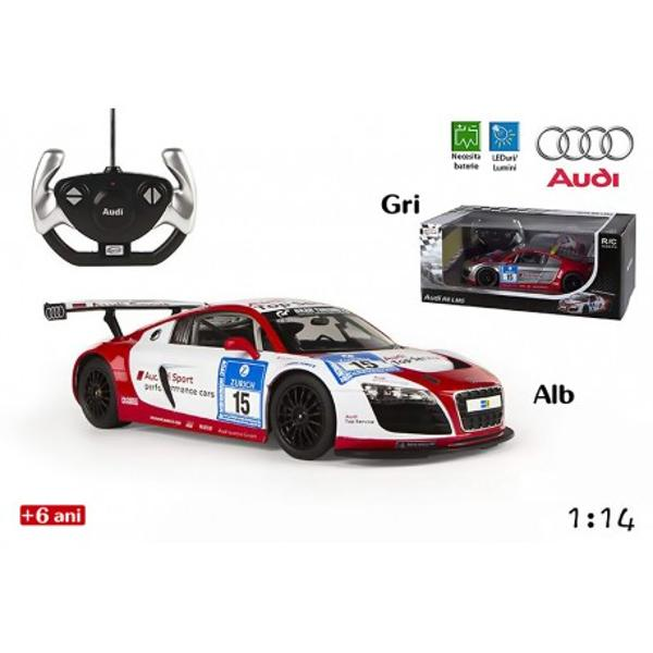 Jucaria masina de curse Audi R8 LMS Performancede la RaStar este o jucarie pentru baieti care imita pana in cele mai mici detalii masina Audi de curse Modelul elegant si aerodinamic confera unicitate jucariei printre jucariile de gen Aceasta poate aduce ore nelimitate de amuzament copiilor pasionati de viteza si masiniMasina include o radiocomanda facuta pentru cei mici