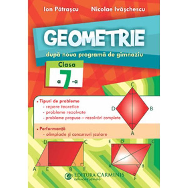 Culegerea Geometrie Clasa a VII-a Dup&259; noua program&259; de gimnaziu apare sub semn&259;tura a doi reputa&355;i profesori de matematic&259; având o experien&355;&259; deosebit&259; atât în activitatea didactic&259; la catedr&259; cât &351;i în publicistica matematic&259; preuniversitar&259;Lucrarea prezint&259; 14 teme structurate unitar în prima parte sunt date no&355;iuni teoretice de baz&259; probleme rezolvate &351;i
