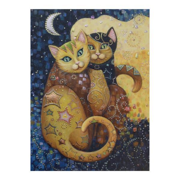 Felicitare Eclectic Moonlightingeste un cadouextrem de elegantpentru persoanele dragi cu ocazia unei aniversari sarbatori sau chiar si si pentru alte ocazii Felicitarea are imprimata in relief imaginea a doua pisici jucause in nuante sidefatemulticolore sub forma unui mozaic Frumusetea aceste felicitari este data de cromatica si desing-ul ce transmiteeleganta si o stare de buna dispoziteFelicitarea este si mai frumoasa datorita