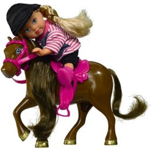 Setul contine o papusa Evi imbracata corespunzator pentru a calari si poneiul ei preferat de culoare alba  cu o sa rozaVarsta recomandata  de la 3 aniDimensiuni papusa  12 cm Dimensiuni ponei  11 cm Marc&259; Simba Vârst&259; 3-6ani Greutate 150 gr