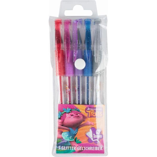 Set 5 pixuri gel cu glitter Trolls5 culori diferitemarime scriere- 1 mmpixuri cu grip din cauciucmod de ambalare etui din plastic