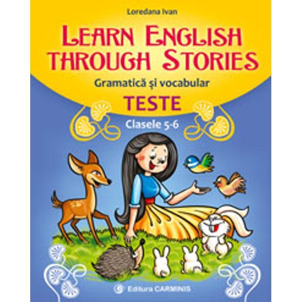 Lucrarea Learn English through Stories este o culegere de 9 teste ce au la baz&259; trei pove&351;ti cunoscute – Alb&259;-ca-Z&259;pada Frumoasa Adormit&259; &351;i Frumoasa &351;i BestiaTestele con&355;in câte un fragment de poveste &351;i exerci&355;ii diverse care le dezvolt&259; elevilor capacitatea de în&355;elegere a textului &351;i abilitatea de exprimare corect&259; în limba englez&259; Vocabularul este fixat cu u&351;urin&355;&259;