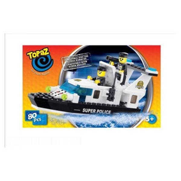 Barca rapida-80 piese compatibile integral si cu piesele produse de alte marci de calitateDin acest set de 80 de piese poti construi o adevarata barca rapida de politie&160; dotata cu cele mai noi radare si doi politisti care te va ajuta la prinderea celor mai de temut infractoriDimensiune cutie cm 24x15x5Numar piese buc 80