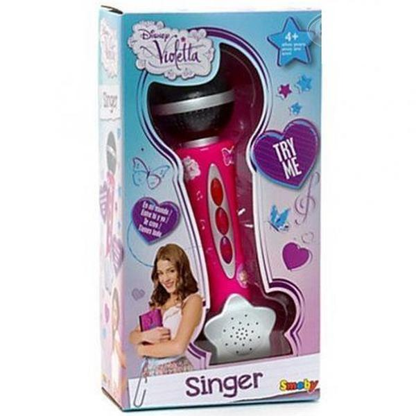 Sing with Violetta and become a starWith the cool handheld microphone with the trendy Violetta design up-and-coming junior talents can practice singing like their big role model Violetta The microphone has 3 different sound buttons Activate the On button and sing into your microphone your voice sounds outYou can accompany your songs with