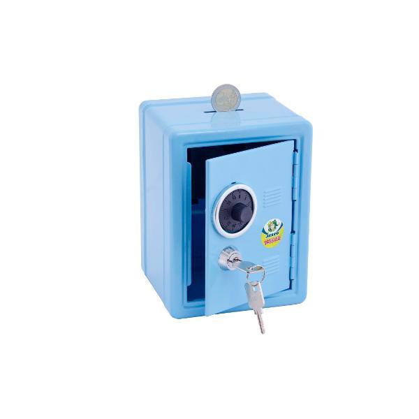 Pusculita metalica Poate fi folosita pentru bani sau mici comoriCu sistem dublu de inchidere cheita si cifruIn cazul in care uitati cifrul poate fi deschis doar cu cheitaDimensiuni 15x10x11