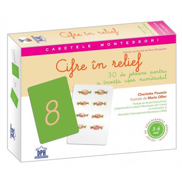 Caset&259; Montessori cu 30 de jetoane pentru a înv&259;&539;a u&537;or num&259;ratul Organizarea gândirii &537;i localizarea în timp devin un joc de copil &537;i un izvor de bucurie datorit&259; acestei abord&259;ri interactive Charlotte Poussineste autoarea casetelorLitere în relief&537;iCifre în relief precum &537;i a numeroase lucr&259;ri care prezint&259; pedagogia