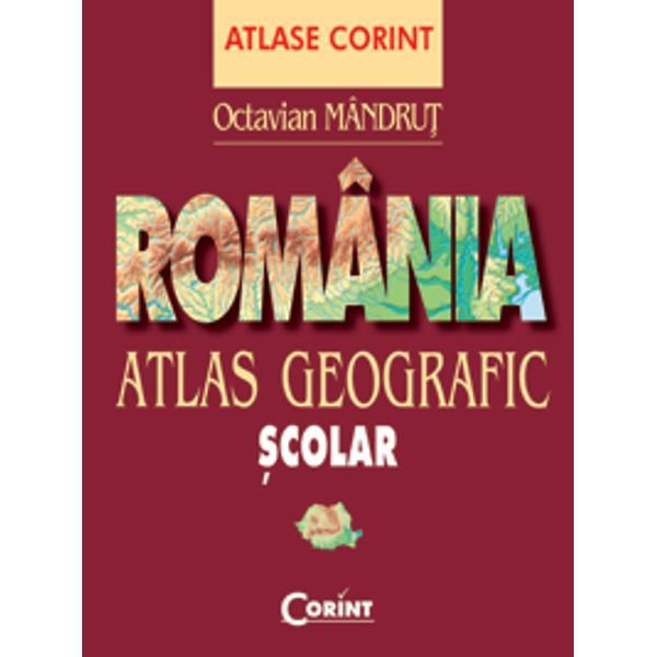"""Acest atlas geografic scolar incearca sa realizeze o sinteza cartografica actuala asupra geografiei Romaniei cu o preponderenta destinatie scolara Octavian Mândru&355; este profesor doctor în geografie cercet&259;tor &350;tiin&355;ific pr I la Universitatea de Vest """"Vasile Goldi&351;"""" din Arad autor de manuale &351;colare pentru clasele III–XII atlase culegeri de sinteze &351;i teste lucr&259;ri din diferite domenii ale geografiei ghiduri"""