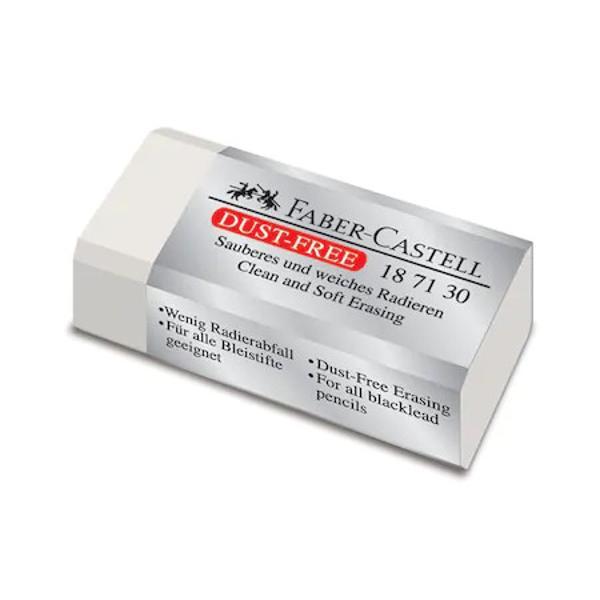 Radiera Faber Castell Dust Free 187130 o radiera de calitate foarte buna prevazuta cu ambalaj protector Radiera este realizata din PVC are o consistenta omogena si poate fi utilizata pentru stergerea oricarui tip de creion grafit Dimensiunile radierei sunt urmatoarele 41x185x115 mm