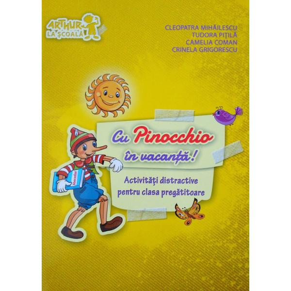"""Simpaticul Pinocchio vine tocmai din Italia ca sa-si petreaca vacanta cu tine Nu va veti plictisi nicio secunda pentru ca v-am pregatit un program grozav cu multe activitati care mai de care mai distractive    - """"citirea"""" unor minunate aventuri rezumate in cuvinte si imagini;    - gasirea diferentelor dintre ilustratii aproape identice;    - colorarea"""