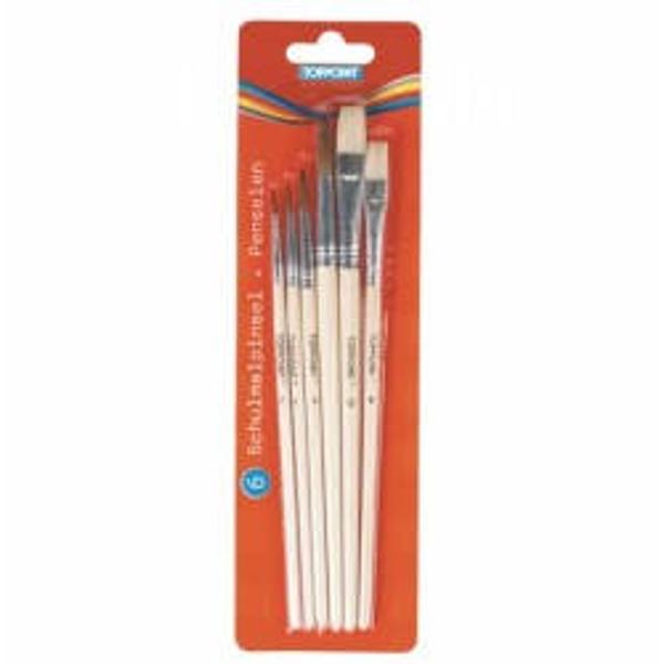 Set 6 pensule  Contine 6 pensule cu corp din lemn  4 rotunde nr 2-4-6-10 si 2 plate nr 8-12 Ambalare 6 pensuleblister carton Produs de TOPPOINT-Germania