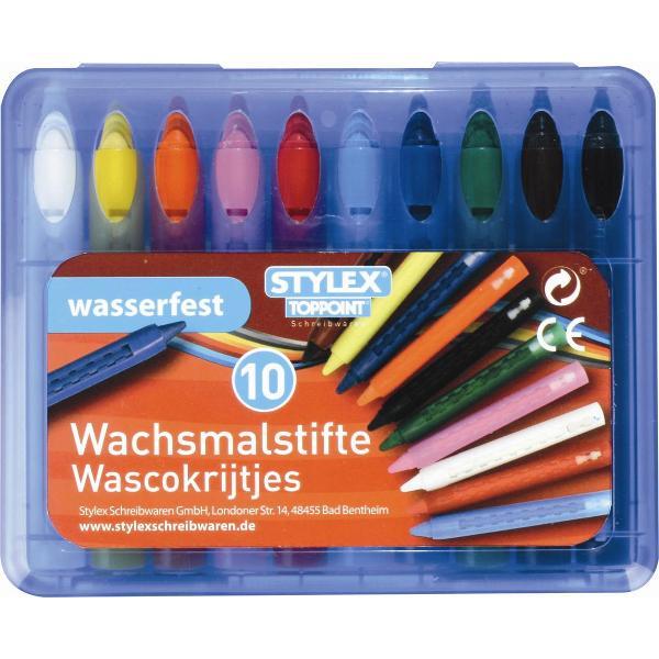 Creioane cerate rezistente la apa cu filetretractabileContin ceara de albine Ambalare 10 creioane cerate cutie colorata din plastic