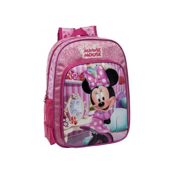 Ghiozdan scoala Disney Minnie dimensiuni 29x38x14 cm cu 1 compartiment 1 buzunar exterior imprimeu cu personajul Minnie confectionat din satin si PVC maner fix bretele ajustabile
