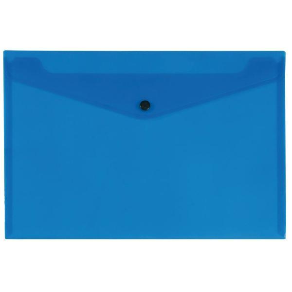 Mapa cu buton Q plastic transp albastru KF03596Mapa A4 cu butoncapsa din plastic transparent albastruPlastic  172 microniDimensiuni234x324 mm