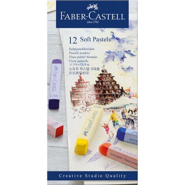BATOANE PASTEL SOFT CRETAT - Faber-Castell  • 12 culori • pentru desen neted pe suport de hârtie span