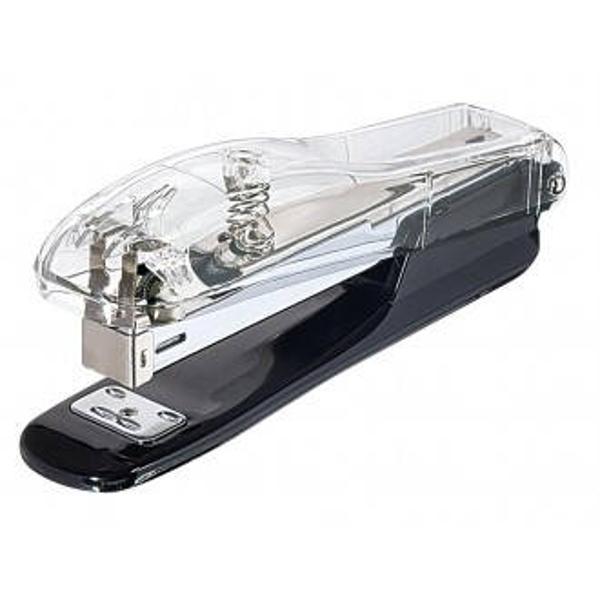 Capsator EXCLUSIVE cu un design exclusivist din acril transparent combinat cu un negru profundFoloseste capse 246 si capseaza cu usurinta pana la 15 coli de hartie de 80gmpDimensiune produs 157 cm x 35 cm x 55 cmAmbalat intr-o cutie de cadou