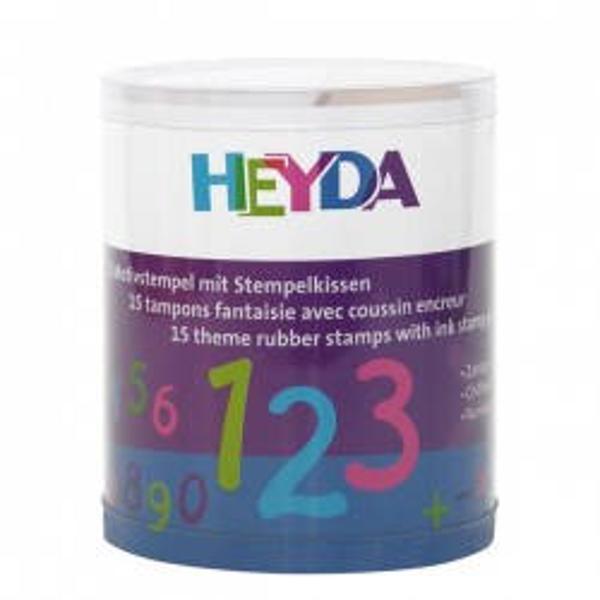 Set 15 stampile din lemn si o tusiera cu cerneala neagra Mod de prezentare borcan din plastic transparent Nu este recomandat copiilor sub 3 ani Produs de HEYDA-Germania