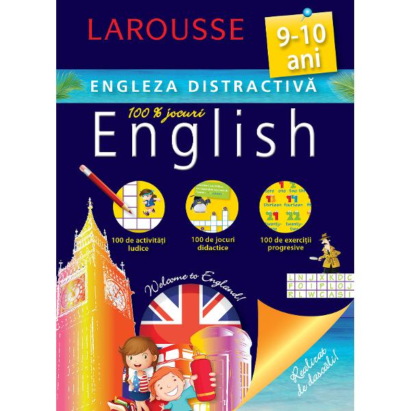 Cartea este conceputa de specialistii Larousse pentru copiii de 9-10 ani care studiaza limba englezaContine activitati ludice jocuri didactice exercitii progresive- Activitati adaptate si jocuri care te vor ajuta sa te antrenezi si sa progresezi- Toate cuvintele pe care ar trebui sa le cunosti- &65533;iretlicuri ca sa treci drept un