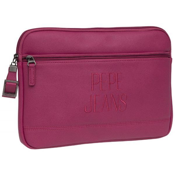 Borseta tableta Pepe Jeans Embroidery 29 cm are 1 compartiment buzunar exteriorsi inchidere cu fermoar confectionata din piele ecologica culoarea fuchsia