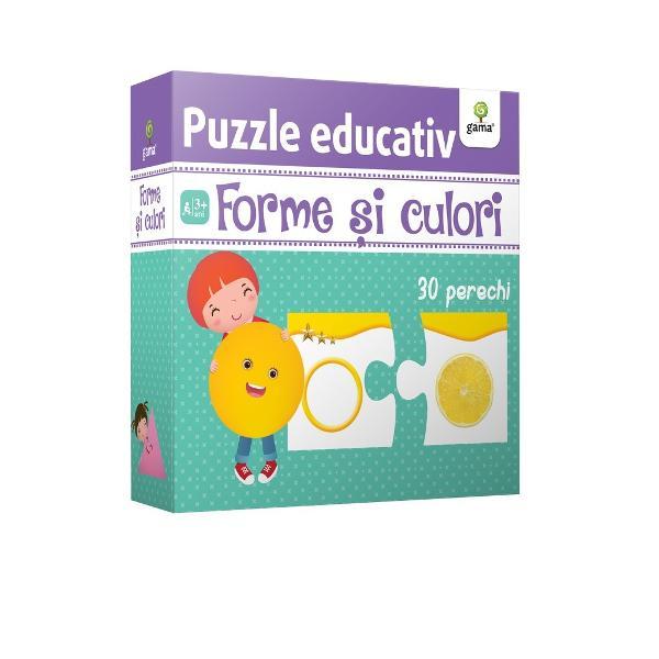 Cu ajutorul puzzle-ului Forme &537;i culori copilul va înv&259;&539;a foarte u&537;or formele geometrice asociindu-le cu elemente care au un contur similar &537;i aceea&537;i culoare Pachetul con&539;ine 60 de piese de puzzle 30 de perechi care ilustreaz&259; cinci forme geometrice de &537;ase culori diferite