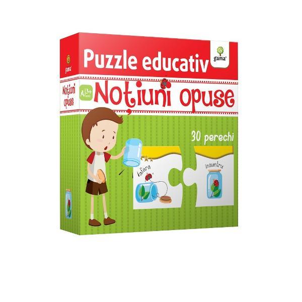Cu ajutorul puzzle-ului No&539;iuni opuse copilul va în&539;elege cu u&537;urin&539;&259; raportul dintre dou&259; no&539;iuni contradictorii &537;i î&537;i va îmbog&259;&539;i vocabularul Pachetul con&539;ine 60 de piese de puzzle 30 de perechi care ilustreaz&259; adjective contrare iar copilul trebuie s&259; refac&259; asocierile corecte