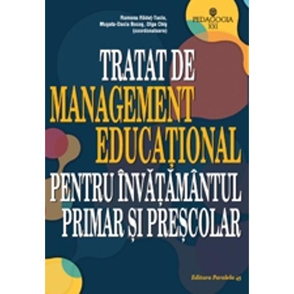 Tratatul de management educa&539;ional pentru &238;nv&259;&539;&259;m&226;ntul primar &537;i pre&537;colar propune o resemnificare &537;i o valorizare pedagogic&259; modern&259; a conceptului de management educa&539;ional precum &537;i abord&259;ri personalizate pentru &238;nv&259;&539;&259;m&226;ntul primar &537;i pre&537;colar El valorizeaz&259; o viziune interac&539;ionist&259; &238;ntruc&226;t