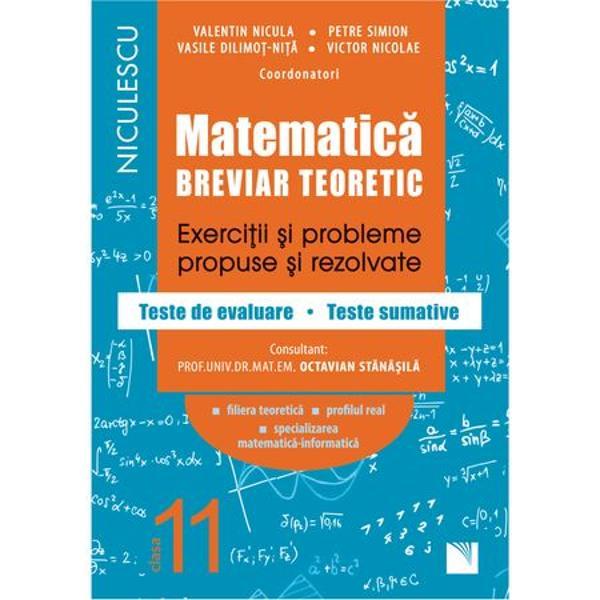 Lucrarea acopera in totalitate programa scolara de matematica pentru clasa a Xl-a filiera teoretica profilul real specializarea matematica-infromatica si este un auxiliar extrem de util atat elevilor cat si profesorilor de-a lungul intregului an scolar avand o structura speciala completa cu un pronuntat caracter practicTratarea fiecarei teme din programa debuteaza cu un breviar teoretic din care elevul isi clarifica toate notiunile matematice necesare urmeaza exercitii si