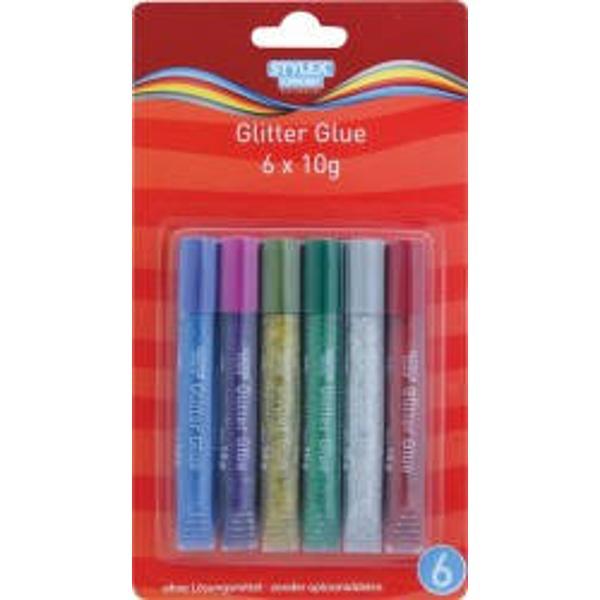 Lipici cu glitter-6 culorisetContine 6 tuburi cu 10 g Ideal pentru desenat si modelat pe numeroase materiale-hartie carton textile Ambalaj cutie carton Produs de Toppoint-Germania