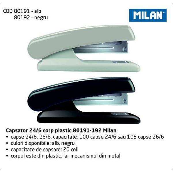 corp din plasticmecanism din metal- capacitate de capsare20 coli- culori disponibilealbnegru- capse 246266capacitate100 capse 246 sau 105 capse 266