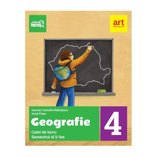 Caietul de lucru la geografie pentru clasa a IV-a semestrul II • poate fi utilizat atat impreuna cu manualul cat si independent enunturile si cerintele fiind sustinute de un bogat suport grafic si cartografic; • itemii sunt proiectati astfel incat sa-ti dezvolte creativitatea; mai intai vei observa apoi vei reflecta vei intelege si vei oferi solutii; • ofera aplicatii pe harti mute pregatindu-te